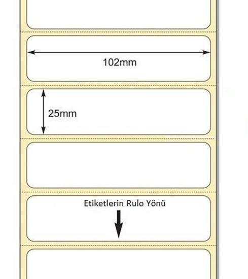 102 x 25mm TT Premium Kuşe Kağıt Etiket