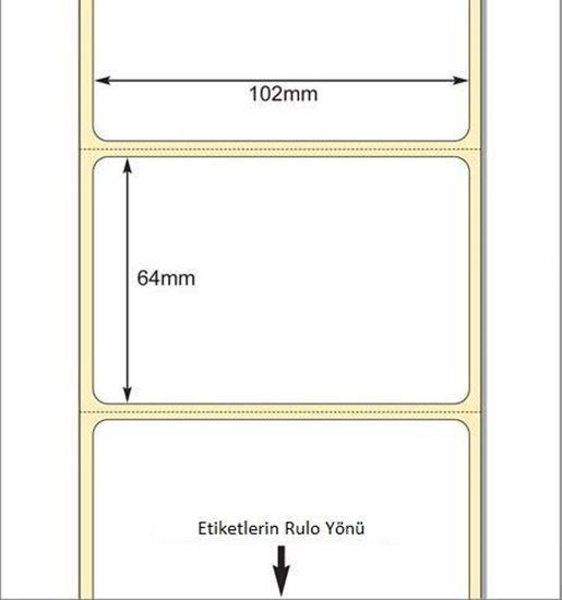 102 x 64mm TT Premium Kuşe Kağıt Etiket