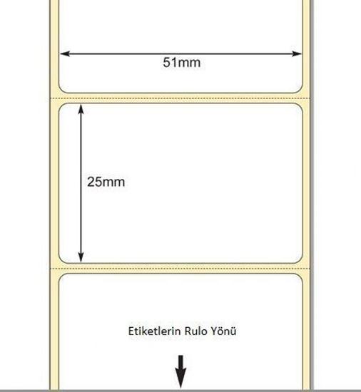 51 x 25mm TT Premium Kuşe Kağıt Etiket