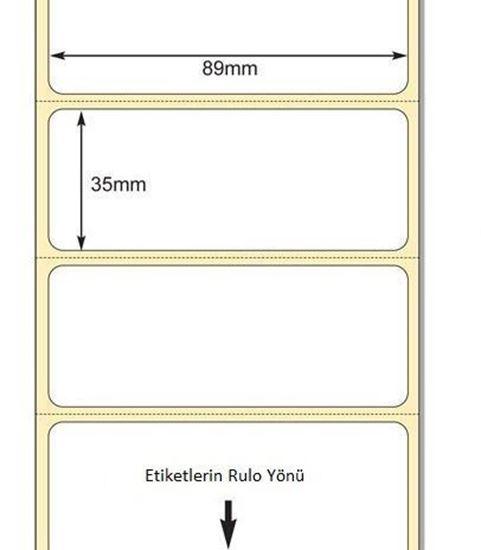 89 x 35mm TT Premium Kuşe Kağıt Etiket
