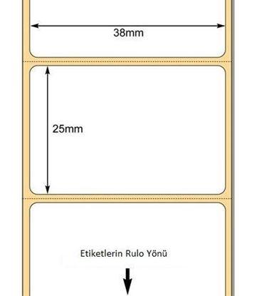 38 x 25mm TT Premium Kuşe Kağıt Etiket