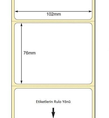 102 mm x 76 mm Direkt Termal Etiket