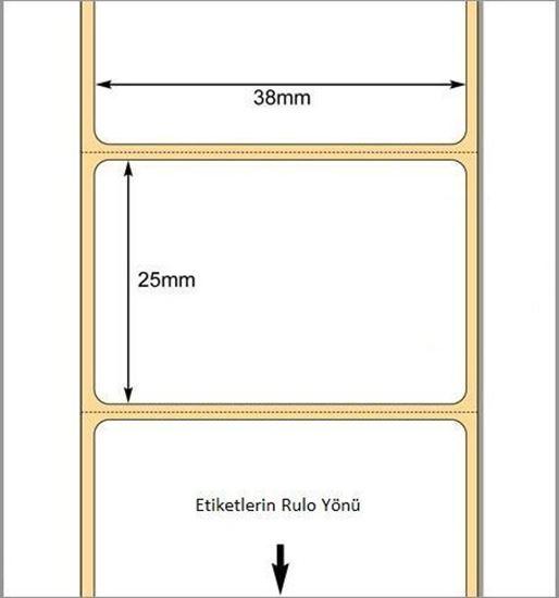 38 mm x 25 mm Direkt Termal Etiket